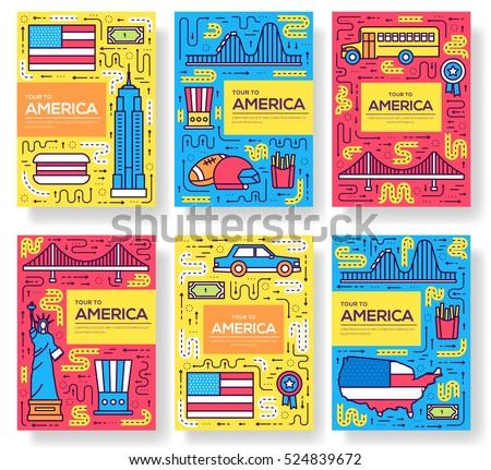 EUA vetor folheto cartões fino linha Foto stock © Linetale