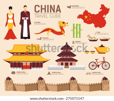 Country China travel vacation guide of goods, places and features. Set of architecture, fashion, peo Stock photo © Linetale
