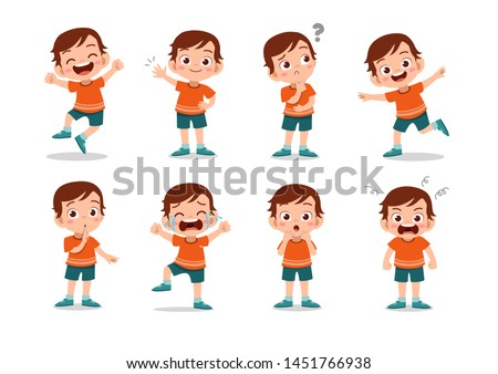 Teen Girl Vector. Teenager. Cute, Comic. Joy. Face Emotions, Various Gestures. Animation Creation Se Stock photo © pikepicture