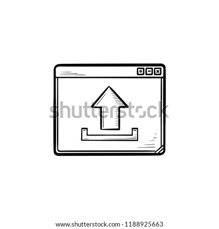 browser window with upload sign hand drawn outline doodle icon stock photo © rastudio