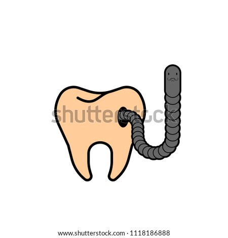 Tooth and worm with hole. Microbes sick tooth. Caries and pulpit Stock photo © MaryValery