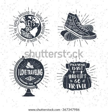 Set of retro Wanderlust Logos Emblems. Vintage hand drawn travel badges. Different camp, forest acti Stock photo © JeksonGraphics
