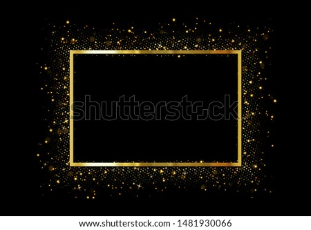 Black Friday luxury banner. Golden text on yellow square label frame. Dark geometric pattern stock photo © Iaroslava