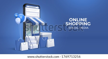 On line store concept. Icon shop online, business icon flat design. App Icons, Web Ideas Network Pag stock photo © makyzz