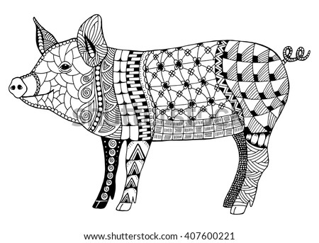 Stock photo: Zentangle stylized pig. Hand drawn decorative vector illustration