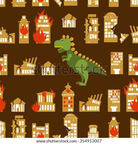 Monster destroys city. Street and House broken. Godzilla in seam Stock photo © popaukropa