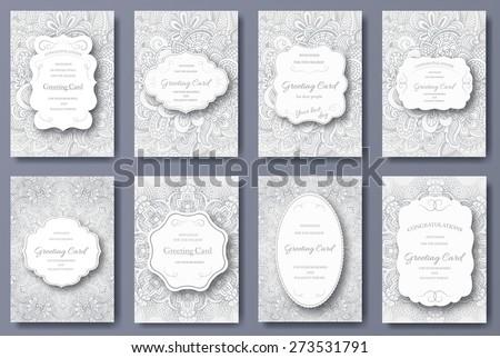 szett · retro · virágmintás · bannerek · szeretet · absztrakt - stock fotó © linetale