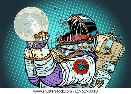 Astronaut monster eats Moon. Greed and hunger of mankind concept Stock photo © studiostoks