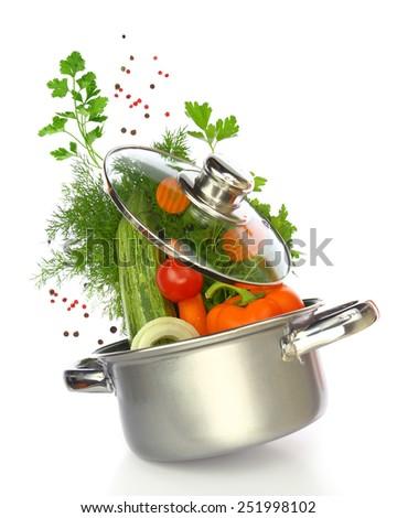 Vegetarian menu. Cook vegetables in the pan. Vegetables come cra Stock photo © popaukropa
