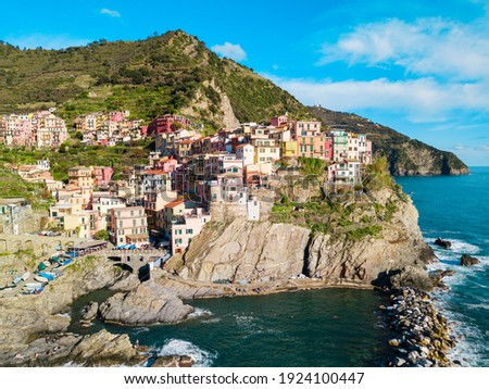 manarola is a beautiful small town in the province of la spezia liguria north of italy and one of stock photo © asturianu