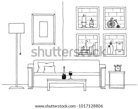 Tablo kanepe tuğla duvar raflar vektör kroki Stok fotoğraf © Arkadivna