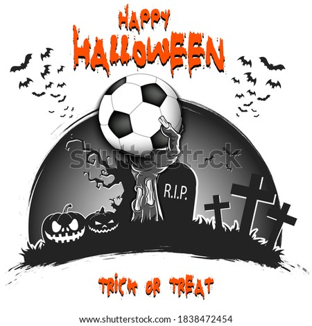 Stock photo: Happy Halloween banner illustration with coffin and zombie hand on orange background. Vector Holiday