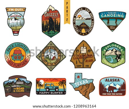 Vintage hand drawn travel badge. Camping label concept. Bear creek. Stock vector patch isolated on w Stock photo © JeksonGraphics