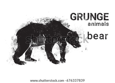 Grizzly bear silhouette shape. Distressed wild animal icon. Stock vector pictogram isolated on white Stock photo © JeksonGraphics