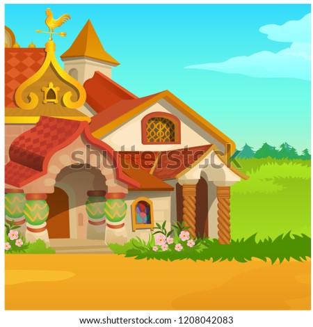 Poster with a fabulous Royal wooden house in a field with green grass and blue sky. Vector cartoon c Stock photo © Lady-Luck