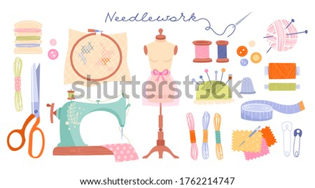 Set of spool of cartoon colorful thread. Equipment sewing workshop isolated on white background. Vec Stock photo © Lady-Luck