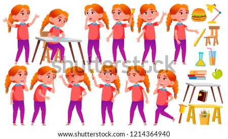 Lány iskolás lány gyerek szett vektor vörös hajú nő Stock fotó © pikepicture