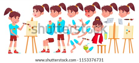 Girl Schoolgirl Kid Vector. High School Child. Animation Creation Set. Face Emotions, Gestures. Blac Stock photo © pikepicture