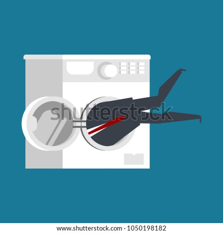 Businessman in washing machine. boss is stuck. Vector illustrati Stock photo © MaryValery