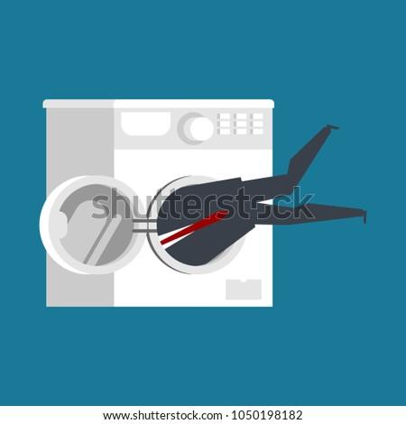 Zakenman wasmachine baas vector home Stockfoto © MaryValery