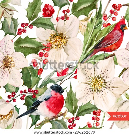 christmas pattern with leaves berries holly and birds bullfinch. Stock photo © Margolana