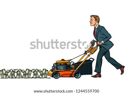 Businessman cuts money like a lawnmower man. Wealth and financia Stock photo © studiostoks