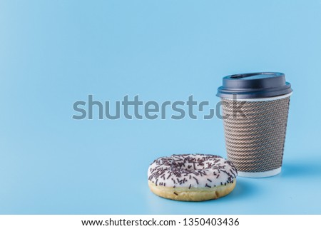 cartone · tazza · di · caffè · nero · cookies · ciambella · pietra - foto d'archivio © denismart