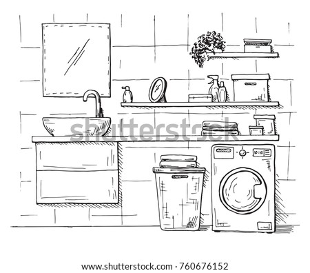 Hand drawn sketch. Linear sketch of an interior. Part of the bat Stock photo © Arkadivna