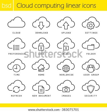 Nube stoccaggio lineare icona web Foto d'archivio © kyryloff