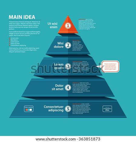Business Pyramid Infographics. Pyramid presentation with 5 options, charts. Vector illustration. Stock photo © kyryloff