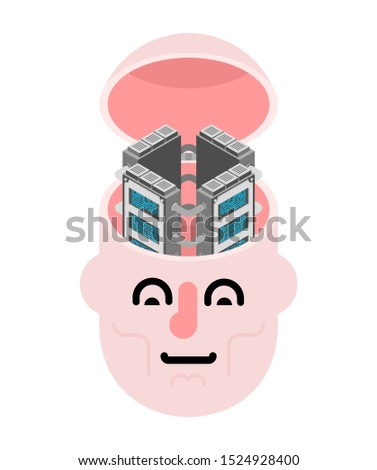 Server in head. Data center of brain. Internet industry. Data tr Stock photo © MaryValery