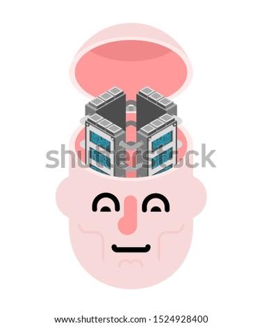 Photo stock: Serveur · tête · cerveau · internet · industrie