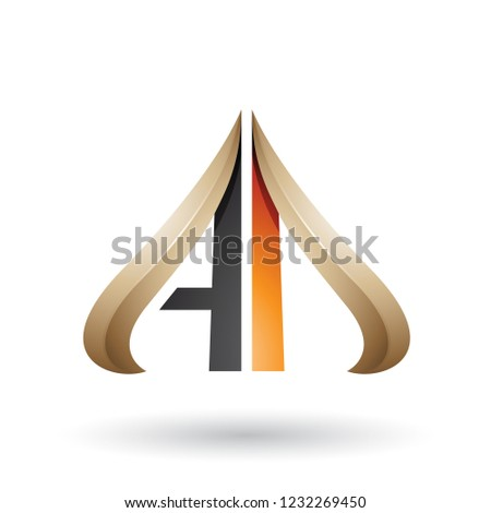 black and beige embossed arrow like letter a and d vector illust stock photo © cidepix