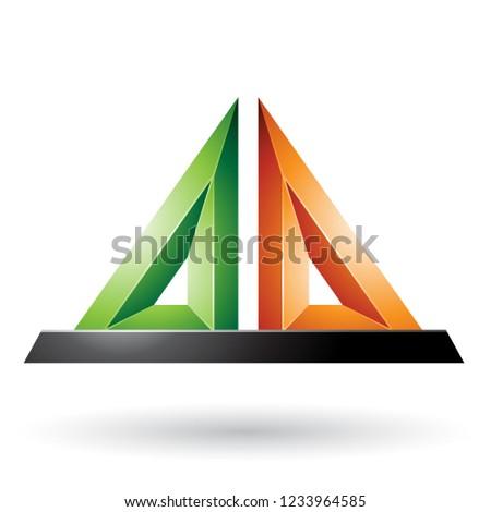 Green and Orange 3d Pyramidical Embossed Shape Vector Illustrati Stock photo © cidepix