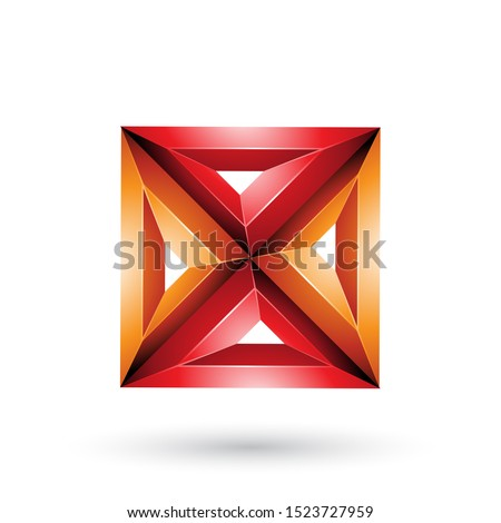 Orange 3d Geometrical Embossed Square and Triangle X Shape Vecto Stock photo © cidepix