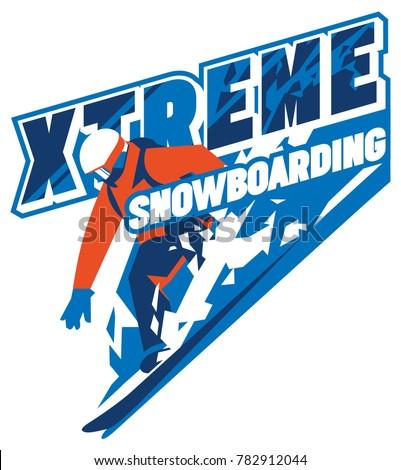 Mountain Snowboard logo. Snowboarder goggles emblem. Winter graphic illustration, T-Shirt print. Cus Stock photo © JeksonGraphics