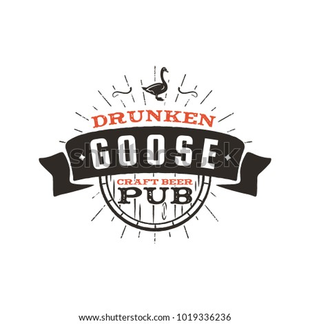 vintage craft beer pub label drunken goose brewery retro design elements hand drawn emblem for bar stock photo © jeksongraphics