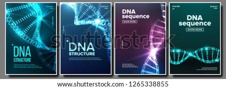 Photo stock: Dna Poster Set Vector Biochemistry Flyer Evolution Symbol Healthy Chromosome Digital Cell Medic