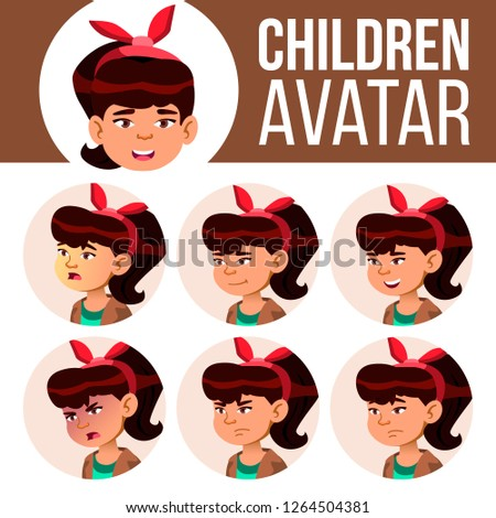 Asian Girl Avatar Set Kid Vector. High School. Face Emotions. High, Child Pupil. Small, Junior. Cart Stock photo © pikepicture