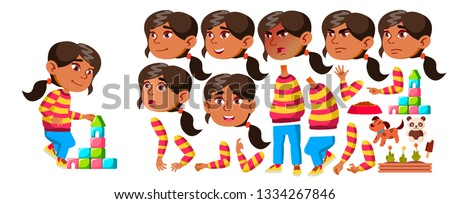 girl kindergarten kid vector animation creation set face emotions gestures preschool young posi stock photo © pikepicture