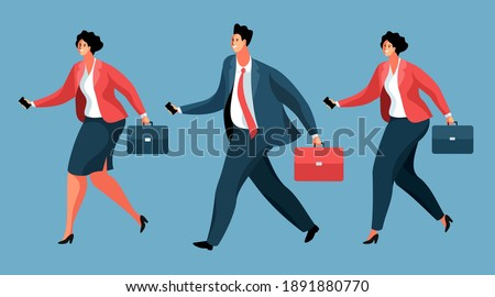 Teamwork Vector. Running Businessman And Woman Holding One Arrow And Plunging It Into Target. Illust Stock photo © pikepicture