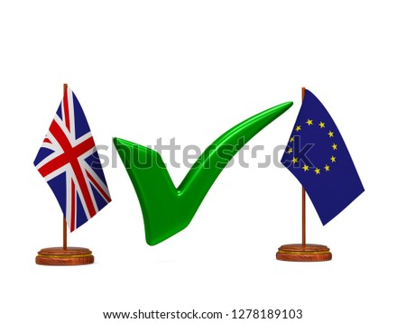 flag EU and  Great Britain and green checkmark on white backgrou Stock photo © ISerg