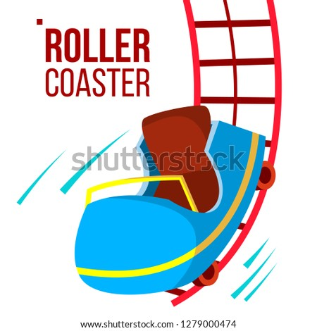Roller Coaster Vector. Fast Ride. Mountians. Amusement Park. Fast Speed, Drive. Isolated Flat Cartoo Stock photo © pikepicture