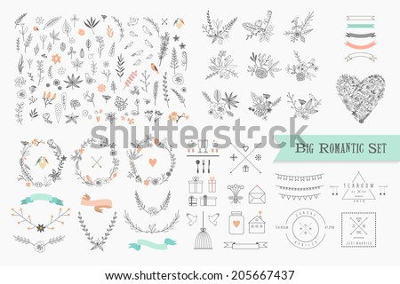 Set of floral design elements. Flower branch, wreaths, heart. Roses flowers. Wedding, birthday, vale Stock photo © ESSL