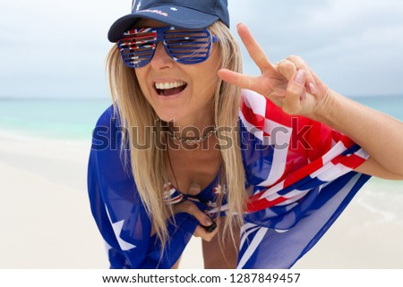 Happy female good vibes Austraia Day or Australian tourism trave stock photo © lovleah