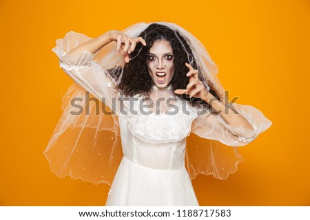 Image of dead bride zombie on halloween wearing wedding dress an Stock photo © deandrobot