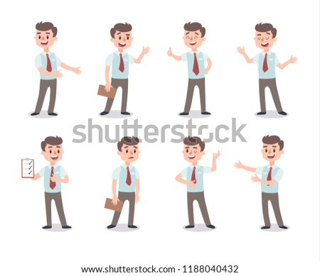 Businessman character set. Animate character. Male personage constructor. Different man postures. Ve Stock photo © bonnie_cocos
