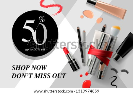 Trendy cosmetic products, ads beauty sale streamers. Modern design vector illustration concept for w Stock photo © ikopylov