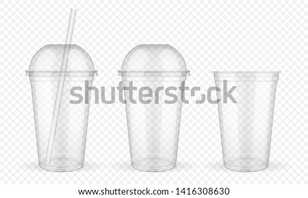 Plastic Cup Transparent Vector. Empty Disposable. Drink Mug. Disposable Tableware Clear Empty Contai Stock photo © pikepicture