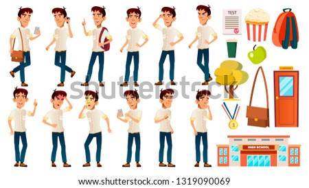 Asian Boy Poses Set Vector. High School Child. White Shirt. Teenage. Workspace. For Web, Brochure, P Stock photo © pikepicture